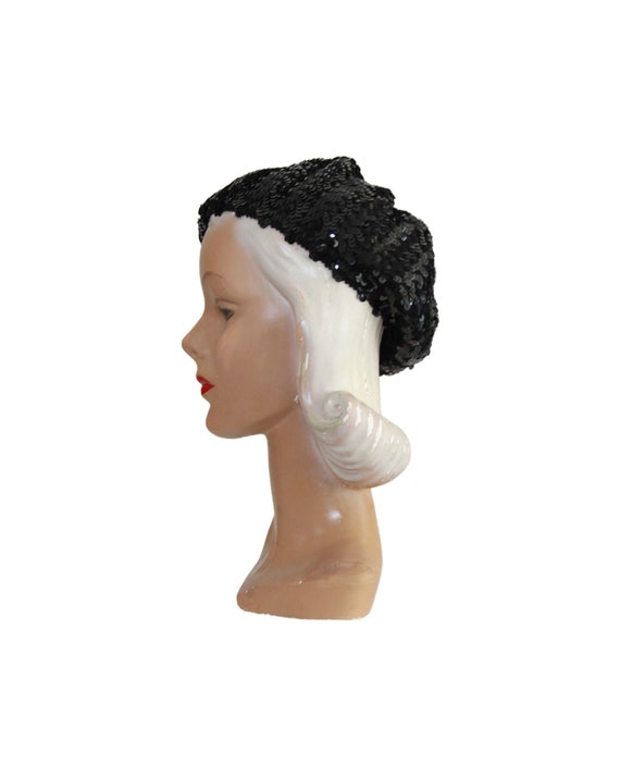 1970s Sequin Slouch Beret - 1970s Black Sequin Be… - image 8