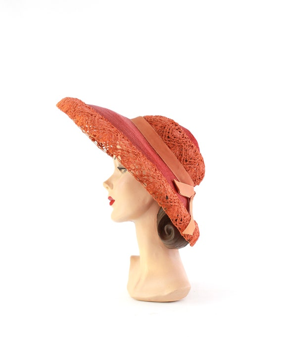RESERVED | 1940s Red Platter Sun Hat - 1940s Oran… - image 5