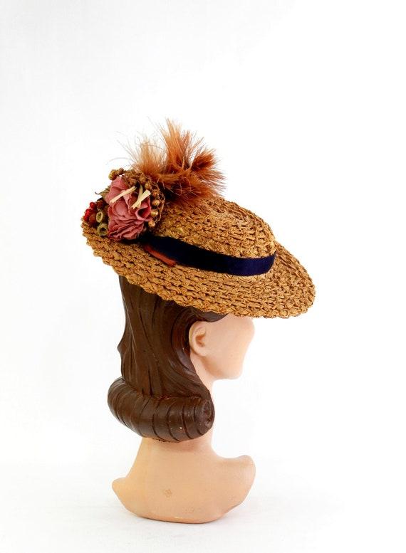 RESERVED | 1940s  Straw Tilt Hat - 1940s Autumn T… - image 6