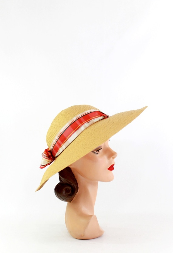 1940s Natural Straw - 1940s Cartwheel Sun Hat - 1… - image 6