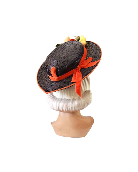 1940s Autumn Boater Hat - 1940s Navy Blue Hat - 1… - image 9