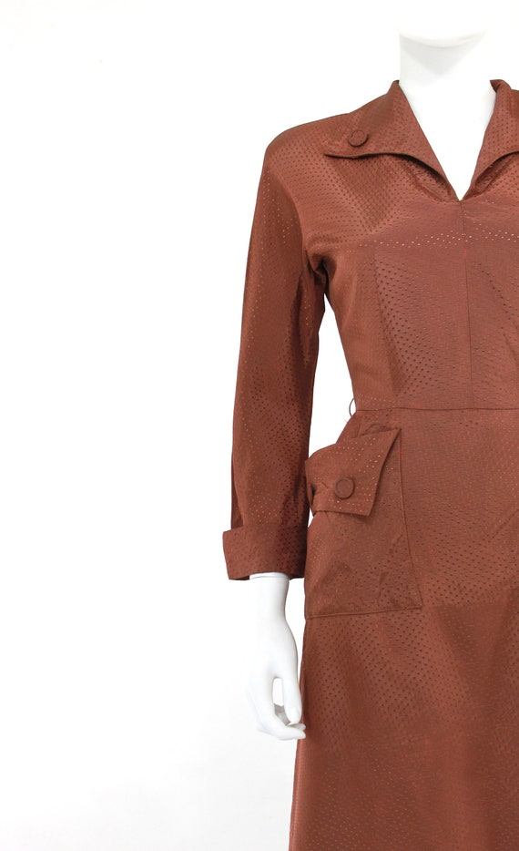 1940s Chestnut Brown Day Dress - 1940s Brown Dres… - image 2