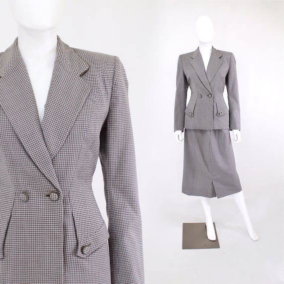 1950s Pale Robins Egg Blue & Muted Brown Check Woo