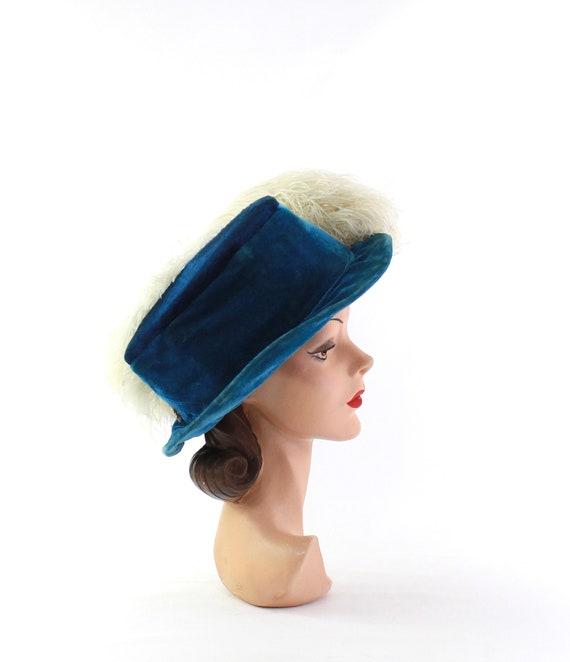 Edwardian Cerulean Blue Hat - Edwardian Velvet Ha… - image 5
