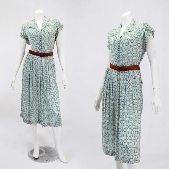1950s Snowflake Print Dress - 1950s Novelty Print