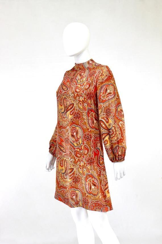 1960s Orange Paisley Print Dress - 1960s Orange D… - image 9