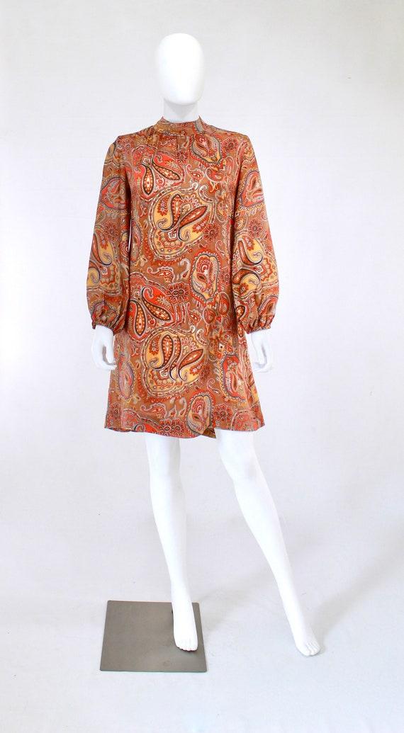 1960s Orange Paisley Print Dress - 1960s Orange D… - image 6