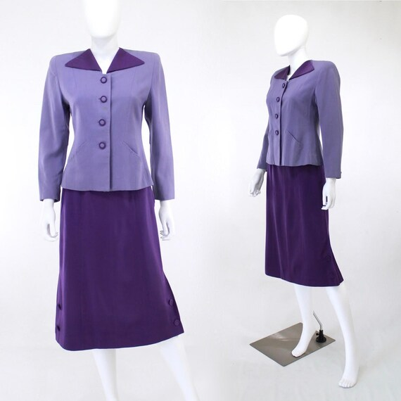 1940s Purple Color Block Suit - 1940s Womens Purpl