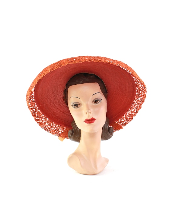 RESERVED | 1940s Red Platter Sun Hat - 1940s Oran… - image 8
