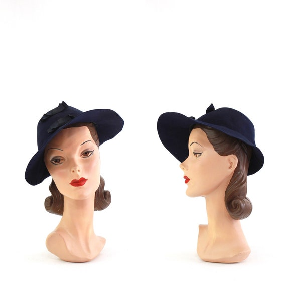 1940s Navy Blue Bonnet Fedora - 1940s Navy Blue Fe