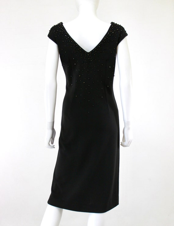 1950s Black Wiggle Dress - 1950s Studded Dress - … - image 8