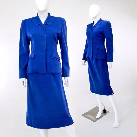 RARE 1940s Cobalt Blue Gabardine Suit - 1940s Blue