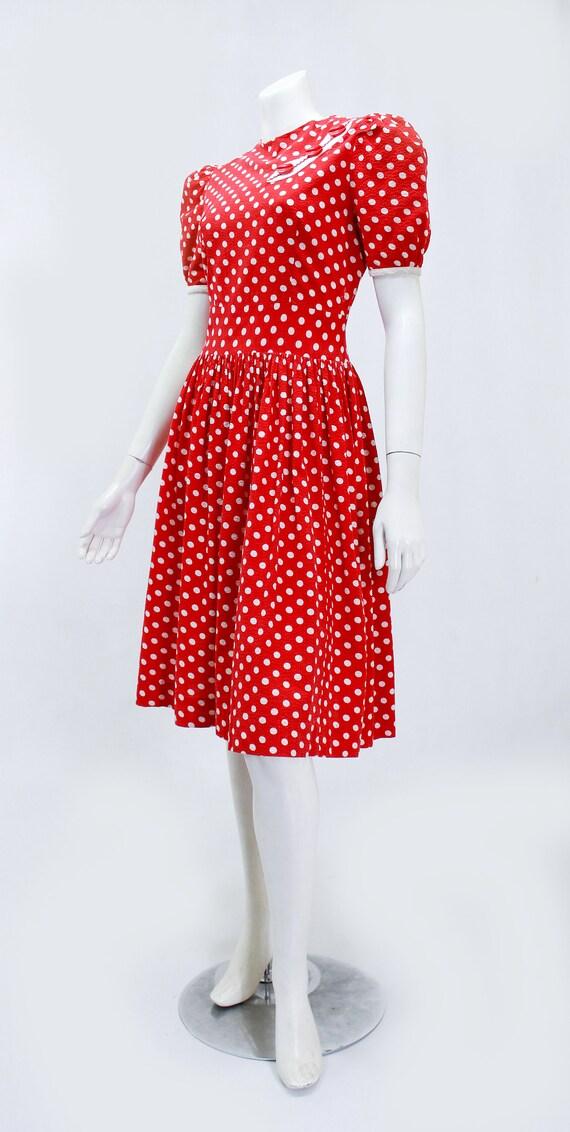 1930s Polka Dot Dress - 1930s Puff Sleeve Dress -… - image 5