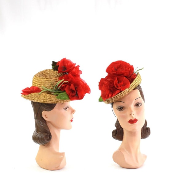 1940s Poppy Tilt Hat - 1940s Red Poppy Hat - Vinta