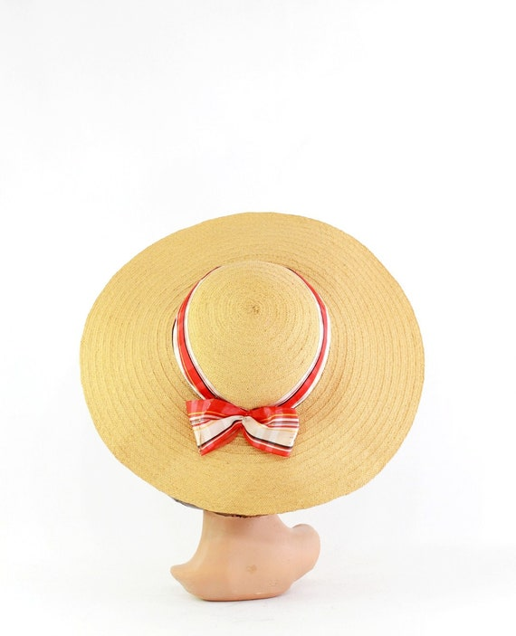 1940s Natural Straw - 1940s Cartwheel Sun Hat - 1… - image 8