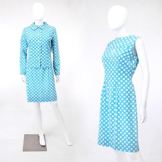 1960s Polka Dot Dress - 1960s Suit Dress - 60s Dre