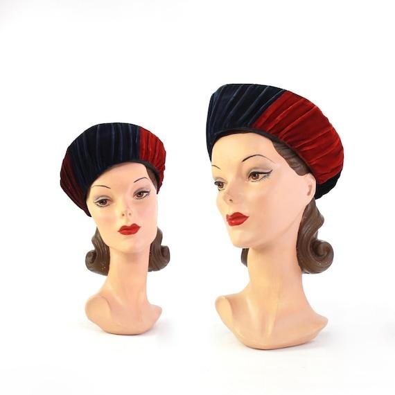 1940s Jewel Tone Velvet Turban Hat - 1940s Rainbow