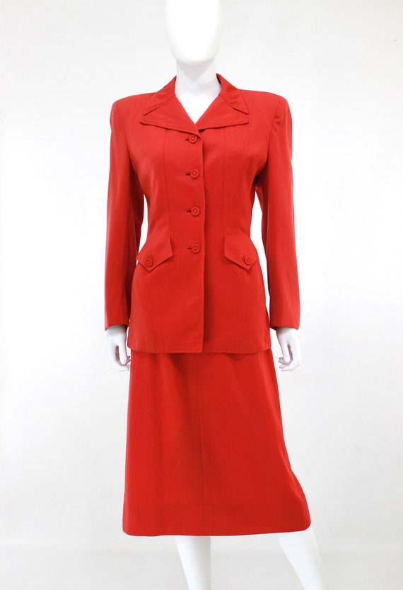 1940s True Red Wool Gab Suit - 1940s Red Suit - 1… - image 6
