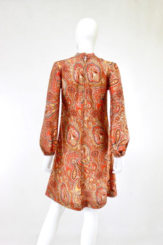 1960s Orange Paisley Print Dress - 1960s Orange D… - image 3