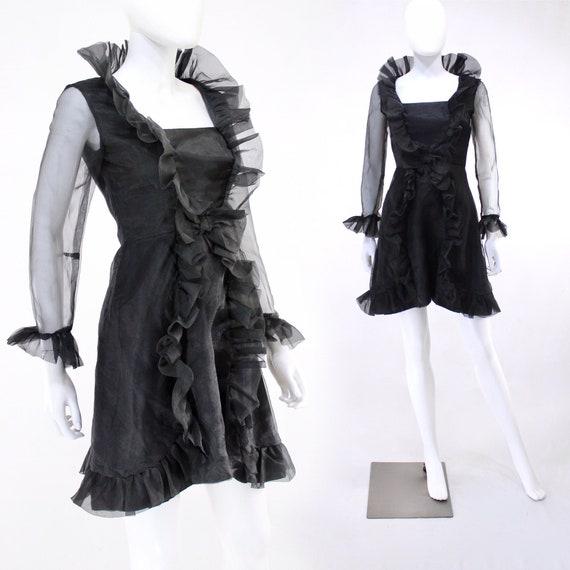 1960s Black Organza Ruffle Mini Dress - 1960s Blac