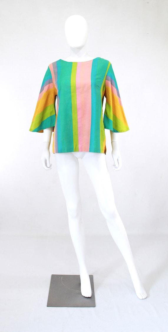 1960s Rainbow Tunic Blouse - 1960s Angel Sleeves … - image 2
