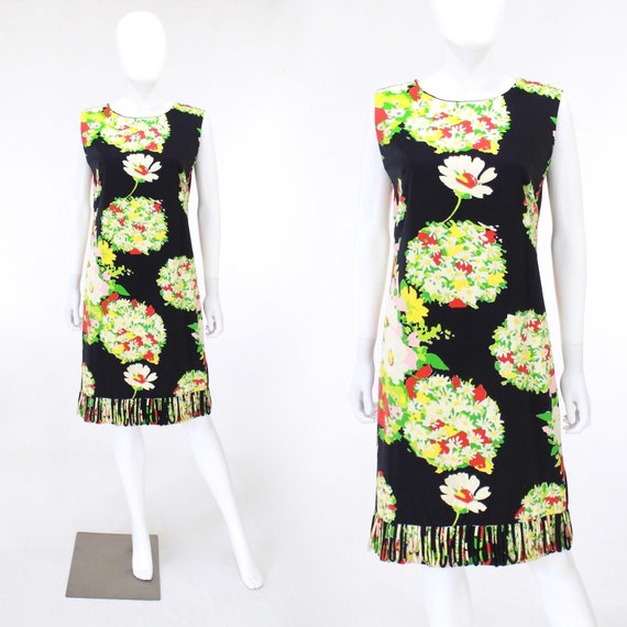 1960s Bouquet Novelty Print Dress - 1960s Hand Pai