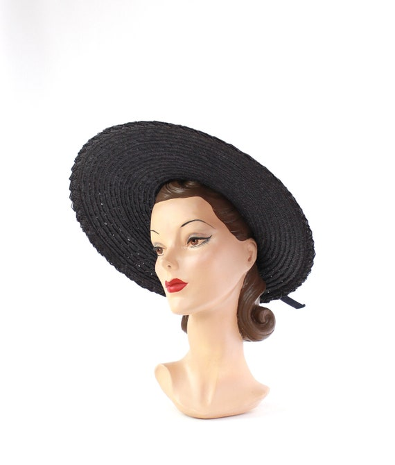 1940s Open Crown Platter Hat - 1940s Navy Blue Pla