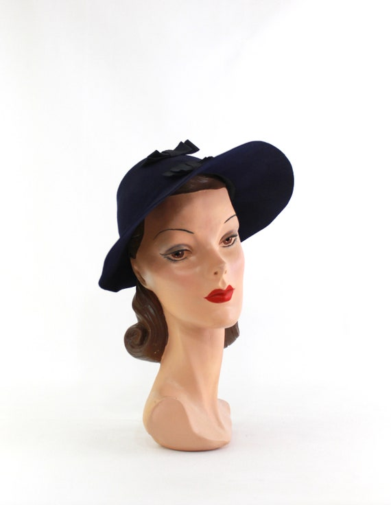 1940s Navy Blue Bonnet Fedora - 1940s Navy Blue F… - image 3