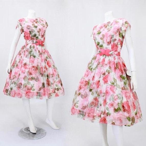 DEADSTOCK 1950s Rose Print Dress - Vintage Rose Pr