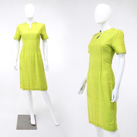 1950s Chartreuse Dress - 1950s Green Dress - 1950s