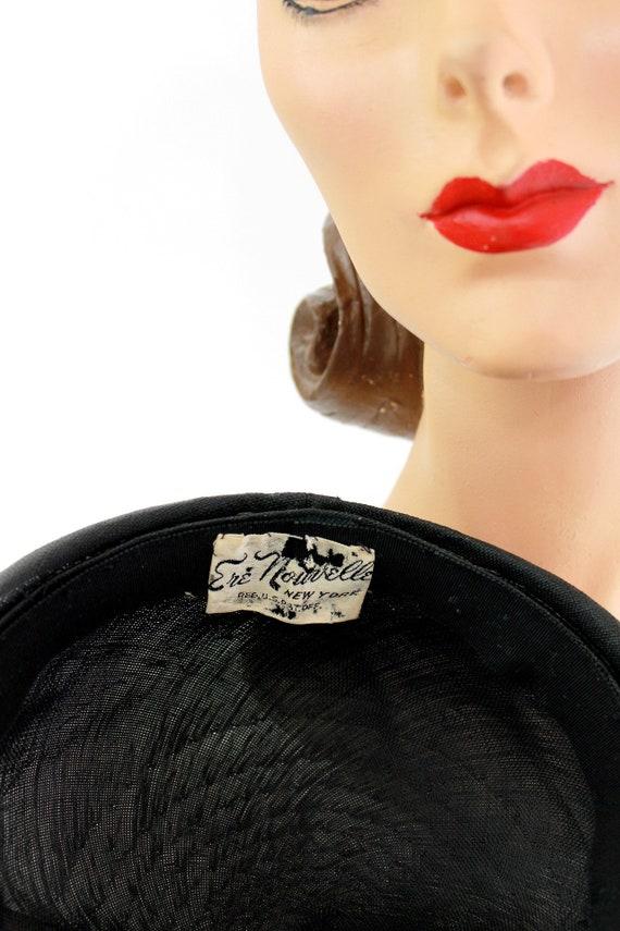1930s Black Straw Shell Cap - 1930s Halo Hat - 19… - image 10