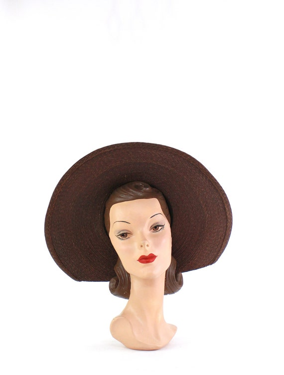 1940s Dark Brown Straw Platter Sun Hat - 1940s Bro