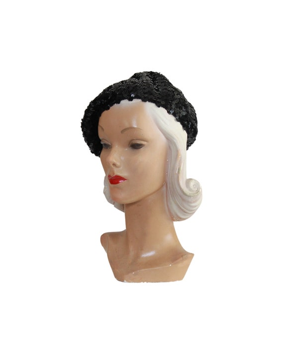 1970s Sequin Slouch Beret - 1970s Black Sequin Be… - image 10