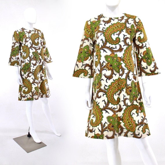 1960s Paisley Tunic Dress - Vintage Paisley Tunic