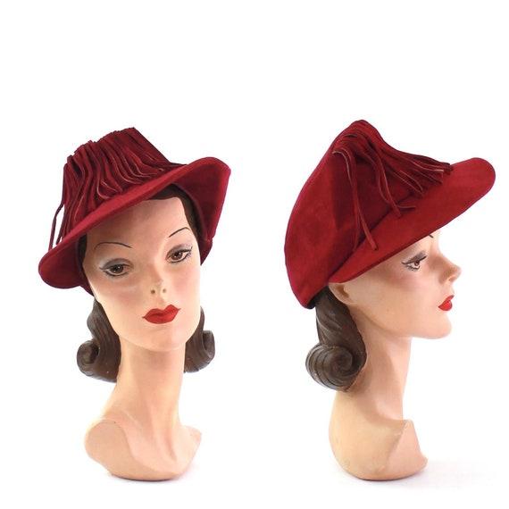 1930s Magenta Suede Hat - 1930s Fringe Hat - 1930s