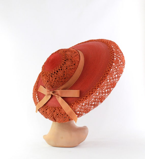 RESERVED | 1940s Red Platter Sun Hat - 1940s Oran… - image 2