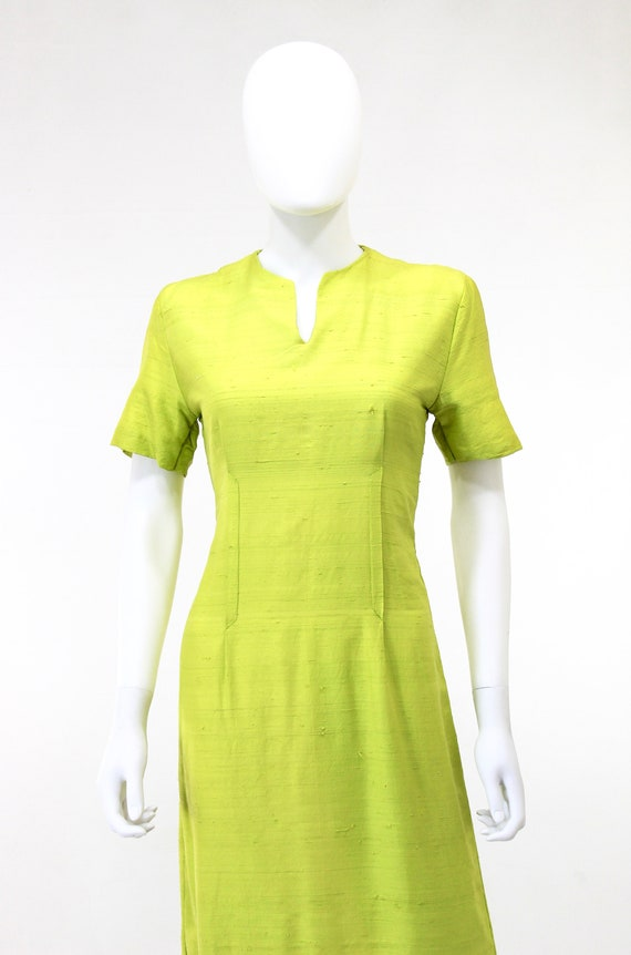 1950s Chartreuse Dress - 1950s Green Dress - 1950… - image 2