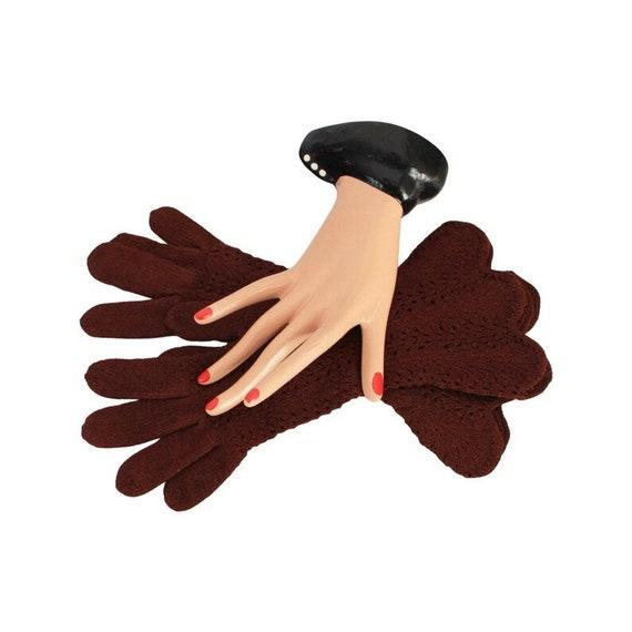1930s Brown Crocheted Gauntlet Gloves - 1930s Cro… - image 1