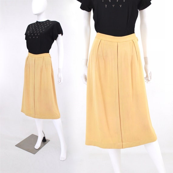 1940s Custard Yellow Gabardine Skirt - 1940s Gabar