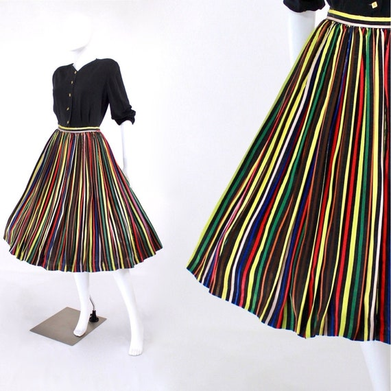 1950s Rayon Ribbon Skirt - 1950s Rainbow Stripe Sk