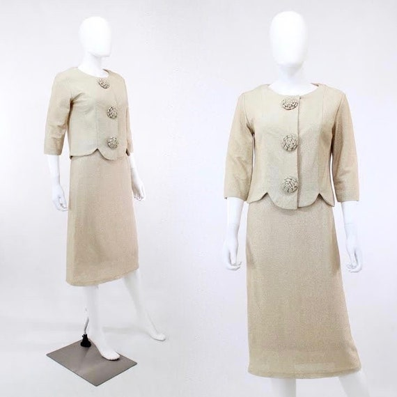 Vintage Gold Lurex Suit - 1950s Lurex Suit - 1950s