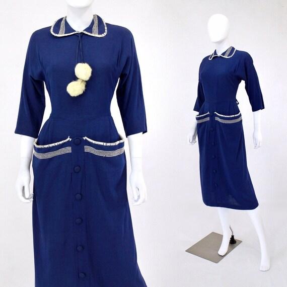 1950s Royal Blue Wiggle Dress - 1950s Blue Wiggle