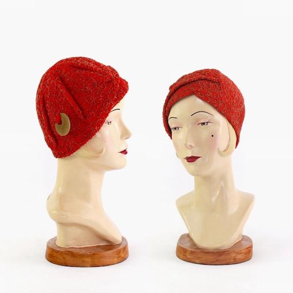 1920s True Red Cloche Hat - 1920s Womens Hat - 192
