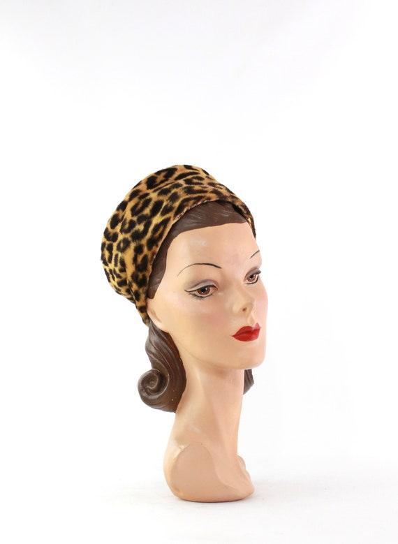 1960s Leopard Print Toque Hat - 1960s Leopard Pri… - image 4
