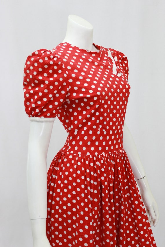 1930s Polka Dot Dress - 1930s Puff Sleeve Dress -… - image 7