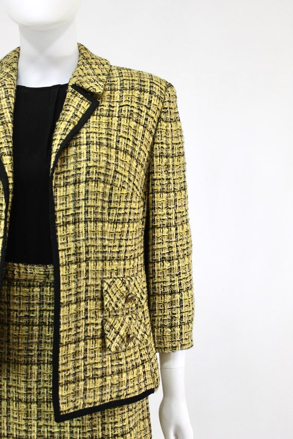1960s Chartreuse Wool Suit - 1960s Chartreuse Sui… - image 2