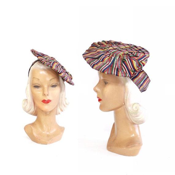 1940s Rainbow Pancake Tilt Hat - 1940s Tilt Hat -