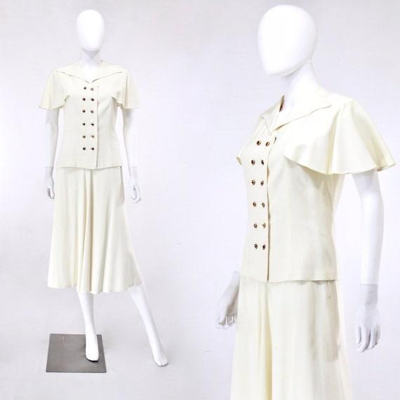 1940s Ivory Wedding Suit - 1940s Wedding Suit - 1… - image 1