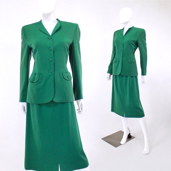 1940s Kelly Green Suit - 1940s Green Suit - 1940s
