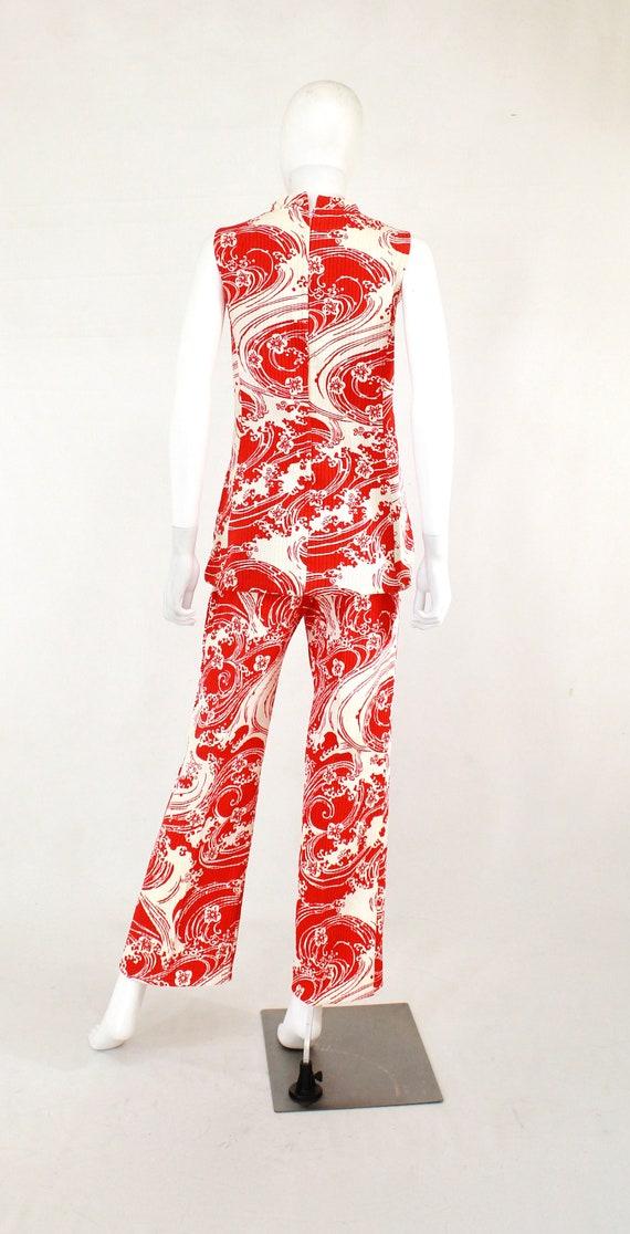 1960s Wave Novelty Print Pant Suit - 1960s Honeym… - image 8